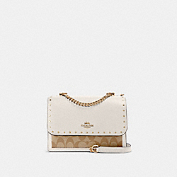 KLARE CROSSBODY IN SIGNATURE CANVAS WITH RIVETS - 90400 - IM/LIGHT KHAKI MULTI