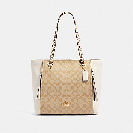 COACH 90434 MARLON TOTE IN SIGNATURE CANVAS WITH SNAKE-EMBOSSED LEATHER DETAIL IM/LIGHT-KHAKI-MULTI