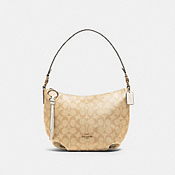 SMALL SKYLAR HOBO IN SIGNATURE CANVAS - 90738 - IM/LIGHT KHAKI CHALK