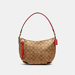 SMALL SKYLAR HOBO IN SIGNATURE CANVAS - 90738 - IM/KHAKI POPPY