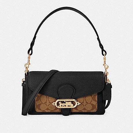 COACH SMALL JADE SHOULDER BAG WITH SIGNATURE CANVAS DETAIL - IM/KHAKI/BLACK - 90782