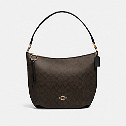 SKYLAR HOBO IN SIGNATURE CANVAS - 90838 - IM/BROWN BLACK