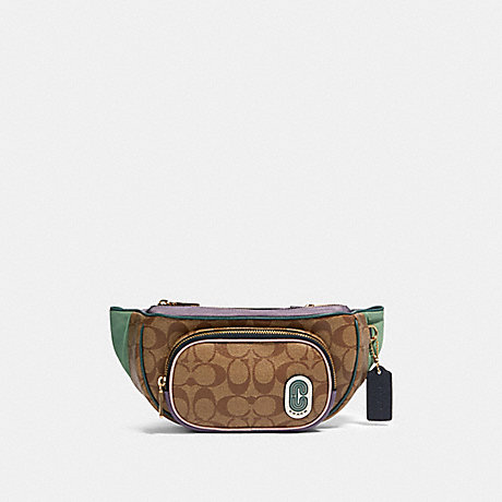 COACH 91010 COURT BELT BAG IN SIGNATURE NYLON IM/KHAKI-MULTI