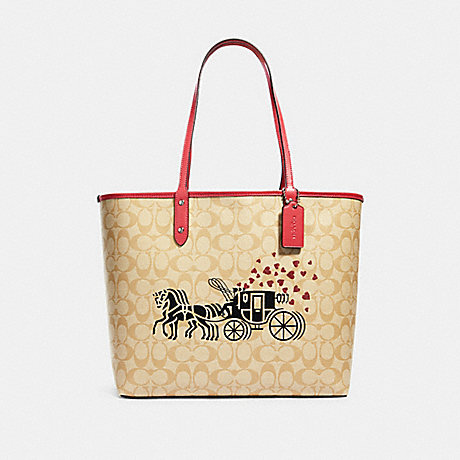 COACH 91011 REVERSIBLE CITY TOTE IN SIGNATURE CANVAS WITH HORSE AND CARRIAGE HEARTS MOTIF SV/LIGHT-KHAKI-MULTI/POPPY