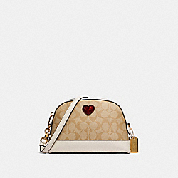 COACH 91012 - DOME CROSSBODY IN SIGNATURE CANVAS WITH HEART IM/LIGHT KHAKI MULTI