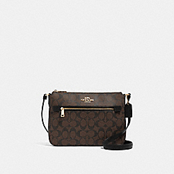 COACH 91013 Gallery File Bag In Signature Canvas IM/BROWN BLACK