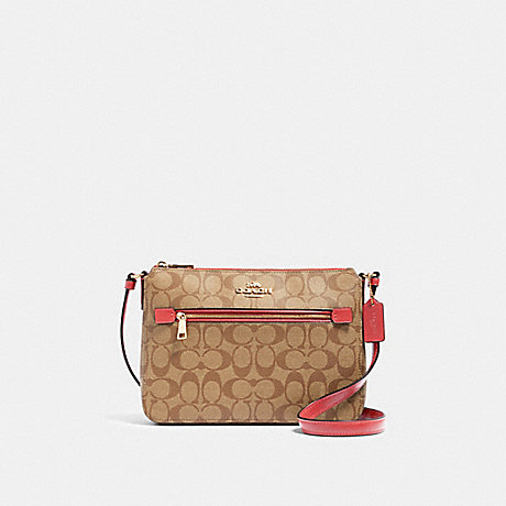 COACH 91013 GALLERY FILE BAG IN SIGNATURE CANVAS IM/KHAKI-POPPY