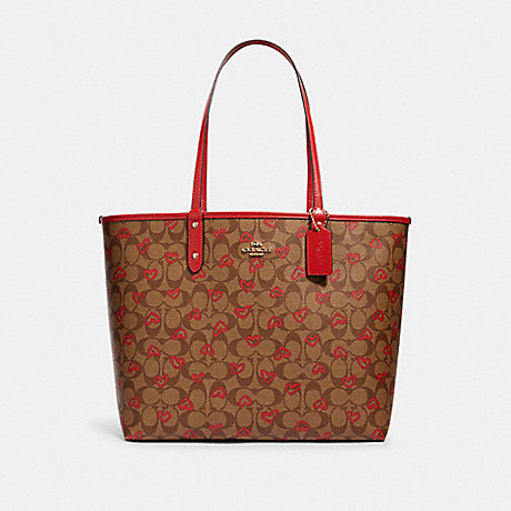COACH 91014 REVERSIBLE CITY TOTE IN SIGNATURE CANVAS WITH CRAYON HEARTS PRINT IM/KHAKI-MULTI-TRUE-RED