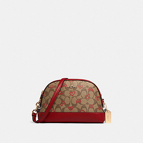 COACH 91015 DOME CROSSBODY IN SIGNATURE CANVAS WITH CRAYON HEARTS PRINT IM/KHAKI-RED-MULTI