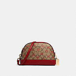 COACH 91015 - DOME CROSSBODY IN SIGNATURE CANVAS WITH CRAYON HEARTS PRINT IM/KHAKI RED MULTI