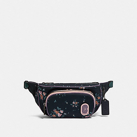 COACH 91021 COURT BELT BAG WITH ROSE BOUQUET PRINT QB/MIDNIGHT-MULTI