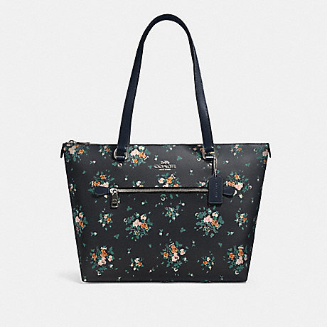 COACH 91023 GALLERY TOTE WITH ROSE BOUQUET PRINT SV/MIDNIGHT MULTI