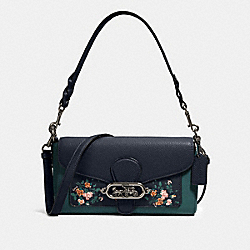 COACH 91024 - JADE SHOULDER BAG WITH ROSE BOUQUET PRINT SV/MIDNIGHT MULTI