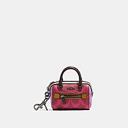 COACH 91033 Rowan Coin Case In Blocked Signature Canvas QB/MAGENTA MULTI