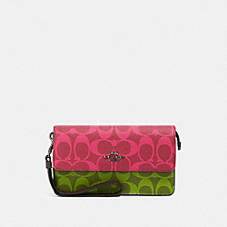 COACH 91035 Foldover Wristlet In Blocked Signature Canvas QB/MAGENTA MULTI