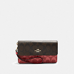 COACH 91039 Foldover Wristlet In Blocked Signature Canvas IM/BROWN MULTI