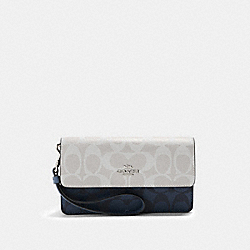 COACH 91039 Foldover Wristlet In Blocked Signature Canvas SV/CHALK MULTI
