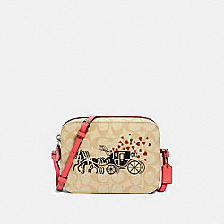 COACH 91041 Mini Camera Bag In Signature Canvas With Horse And Carriage Hearts Motif SV/LIGHT KHAKI MULTI/POPPY