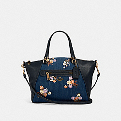 PRAIRIE SATCHEL WITH PAINTED FLORAL BOX PRINT - 91045 - IM/DENIM MULTI