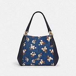 HALLIE SHOULDER BAG WITH PAINTED FLORAL BOX PRINT - 91047 - IM/DENIM MULTI