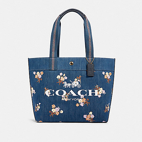 COACH 91049 TOTE WITH PAINTED FLORAL BOX PRINT IM/DENIM MULTI