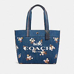 TOTE WITH PAINTED FLORAL BOX PRINT - 91049 - IM/DENIM MULTI