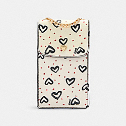 NORTH/SOUTH CROSSBODY WITH CRAYON HEARTS PRINT - 91050 - IM/CHALK PINK MULTI/BLACK