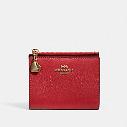 COACH 91052 Snap Card Case In Colorblock IM/POPPY MULTI