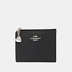 COACH 91056 Snap Card Case With Crayon Hearts Print Interior SV/BLACK