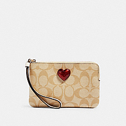 COACH 91072 Corner Zip Wristlet In Signature Canvas With Heart IM/LIGHT KHAKI MULTI