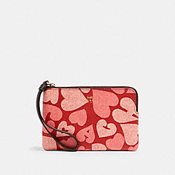 COACH 91073 Corner Zip Wristlet With Coach Heart Print IM/JASPER MULTI