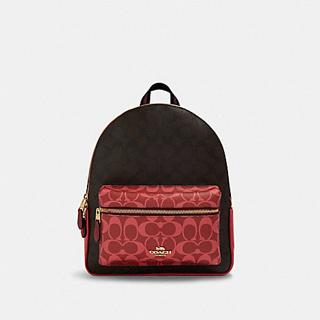 COACH 91074 MEDIUM CHARLIE BACKPACK IN BLOCKED SIGNATURE CANVAS IM/BROWN-MULTI