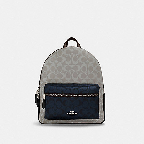 COACH 91074 MEDIUM CHARLIE BACKPACK IN BLOCKED SIGNATURE CANVAS SV/CHALK-MULTI