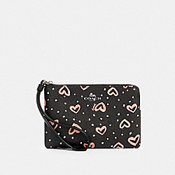 COACH 91078 Corner Zip Wristlet With Crayon Hearts Print SV/BLACK PINK MULTI