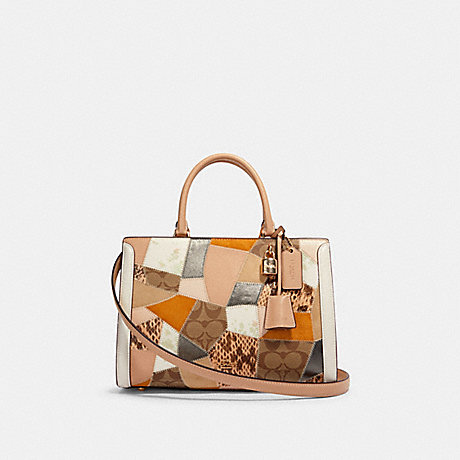 COACH 91088 ZOE CARRYALL WITH PATCHWORK IM/CHALK MULTI