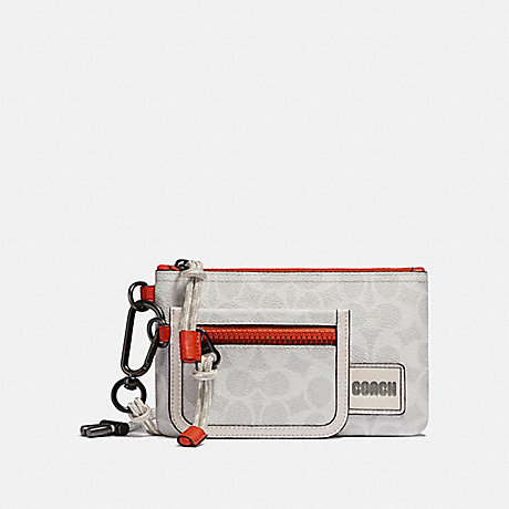 COACH 910 DOUBLE POUCH LANYARD IN SIGNATURE CANVAS WITH COACH PATCH CHALK/MANGO