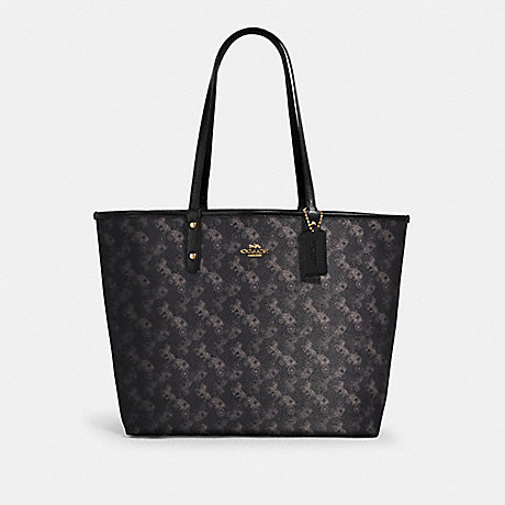 COACH 91107 REVERSIBLE CITY TOTE WITH HORSE AND CARRIAGE PRINT IM/BLACK GREY MULTI