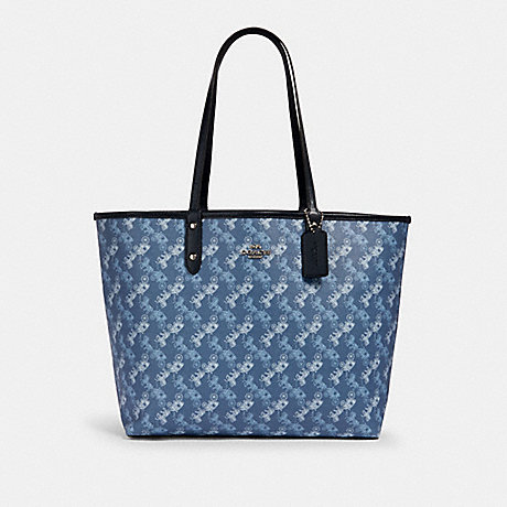 COACH 91107 REVERSIBLE CITY TOTE WITH HORSE AND CARRIAGE PRINT SV/INDIGO-PALE-BLUE-MULTI