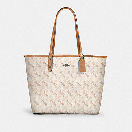 COACH 91107 REVERSIBLE CITY TOTE WITH HORSE AND CARRIAGE PRINT SV/CREAM-BEIGE-MULTI