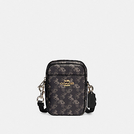 COACH 91108 PHOEBE CROSSBODY WITH HORSE AND CARRIAGE PRINT IM/BLACK-GREY-MULTI