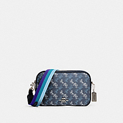 JES CROSSBODY WITH HORSE AND CARRIAGE PRINT - 91109 - SV/INDIGO PALE BLUE MULTI