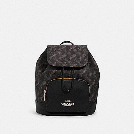 COACH 91110 JES BACKPACK WITH HORSE AND CARRIAGE PRINT IM/BLACK GREY MULTI