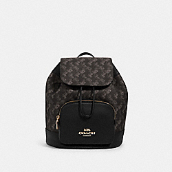 COACH 91110 - JES BACKPACK WITH HORSE AND CARRIAGE PRINT IM/BLACK GREY MULTI