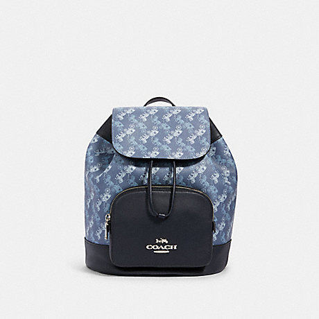 COACH 91110 JES BACKPACK WITH HORSE AND CARRIAGE PRINT SV/INDIGO PALE BLUE MULTI