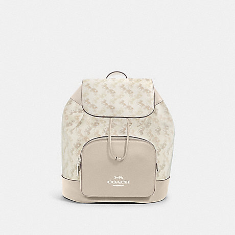 COACH 91110 JES BACKPACK WITH HORSE AND CARRIAGE PRINT SV/CREAM-BEIGE-MULTI