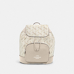 COACH 91110 - JES BACKPACK WITH HORSE AND CARRIAGE PRINT SV/CREAM BEIGE MULTI