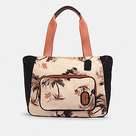 COACH 91111 COURT TOTE WITH GLOWING PALM PRINT QB/PEACH-MULTI