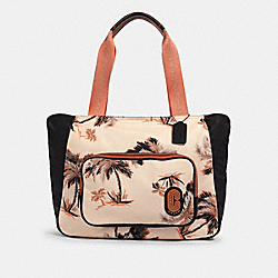 COURT TOTE WITH GLOWING PALM PRINT - 91111 - QB/PEACH MULTI