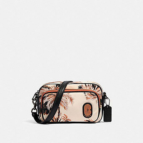 COACH 91113 COURT CROSSBODY WITH GLOWING PALM PRINT QB/PEACH-MULTI