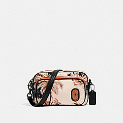 COURT CROSSBODY WITH GLOWING PALM PRINT - 91113 - QB/PEACH MULTI